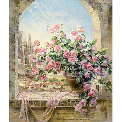 DIY schilderijset met olieverfschilderij om zelf te maken, thuisdecoratie, olieschilderij op canvas, 40 x 50 cm, roze bloem op de vensterbank Omlijst