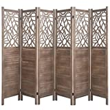 Rose Home Fashion RHF 5.6 ft. Tall- Cutout Room Divider,Double Hinged, Folding Room Dividers,Panel Screen, Room Dividers and Folding Privacy Screens, Freestanding,(6 Panel,Brown)