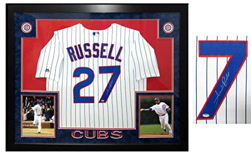 Addison Russell Signed & Framed Cubs White Pinstripe 2016 World Series Patch Majestic Jersey