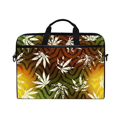 EZIOLY Grunge Hemp Leaves Laptop Shoulder Messenger Bag Case Sleeve for 13 Inch to 14 inch Laptop