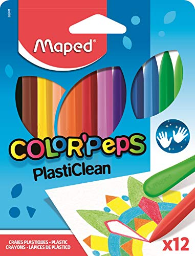 Maped Color'Peps Plasticlean Plastic Crayons, Assorted Colors, Pack of 12 (862011)