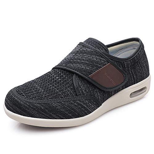 B/H Zapatos para Caminar Extra Anchos con Cierres,Agregue Fertilizante y ensanche losZapatos, Zapatos Anti-hinchazón de Mediana Edad y Ancianos-Negro Gris_45