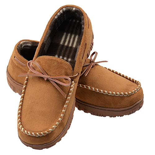 LULEX Mens Moccasin Slippers Memory Foam Anti-Slip Indoor/Outdoor House Slide for Men Size 9 Beige