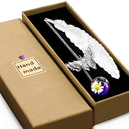 Vintage-Style Metal Feather Bookmark, Handmade with Care. with 3D Butterfly and Dried Flower Bead Charms Gift Box, A Suitable Gift for Women, Girls, Book Lovers, etc.