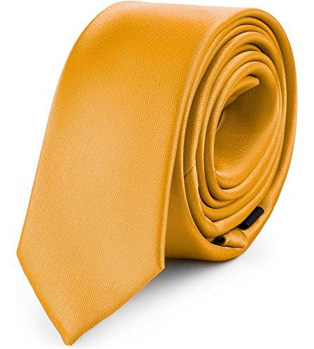 Ladeheid Corbatas Estrechas Diversidad de Colores Accesorios Ropa Hombre SP-5 (150cm x 5cm, Amarillo Oscuro)