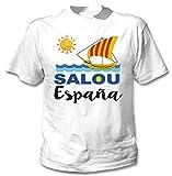 teesquare1st SALOU Spain Camiseta Blanca para Hombre de Algodon Size Xxxlarge