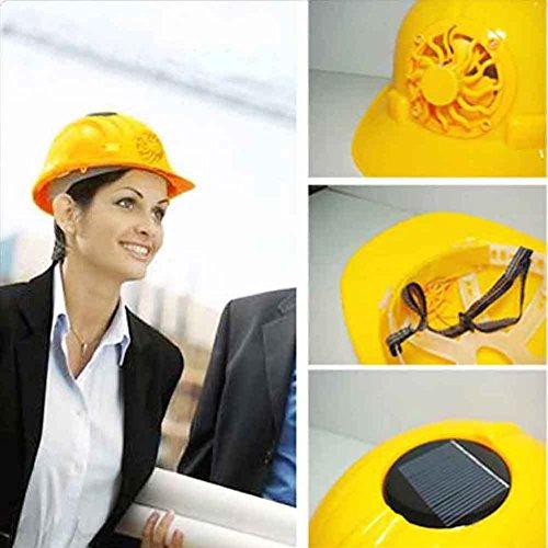 UxradG Solar Powered Sicherheit Helm, Hard Belüften Hat Cap mit Kühlung Lüfter gelb für Outdoor