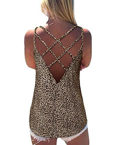Yoins - Top de verano para mujer, sexi, con espalda cruzada, de color liso Leopardo caqui. S