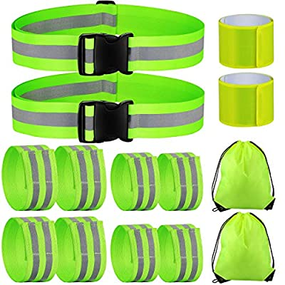 12 Pieces High Visibility Reflective Band with 2 Pieces Storage Bag, Reflective Band for Wrist, Arm, Ankle, Reflective Waist Belt Safety Reflective Gear for Night Walking Running (Green)