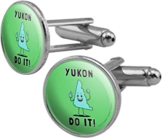 Yukon Do It You Can Canada Funny Humor Round Cufflink Set Silver Color