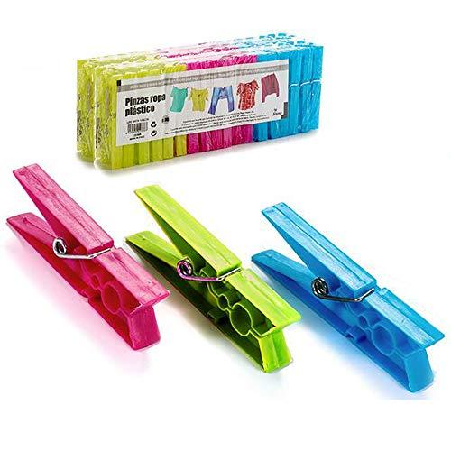 Pinzas Ropa plástico de Colores, Pack de 72 Unidades, Pinzas Ropa Fuertes para Tender aptas para Exterior.