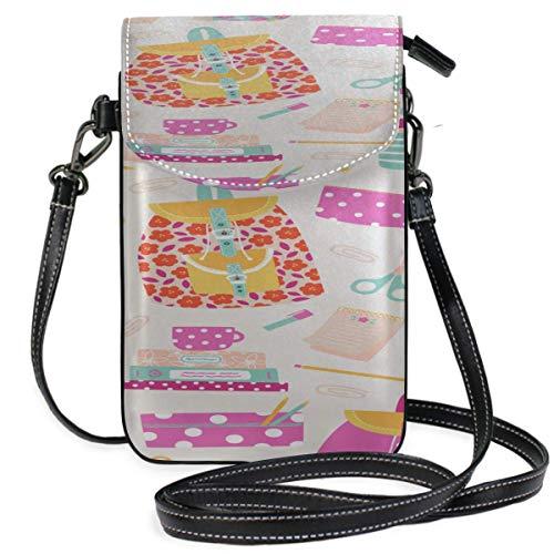 Lawenp Leather Man Purse Crossbody Colorful Supplies Pencil Sharpener Print Lady Phone Bag Small Purse Crossbody Purse Wallet Travel Passport Bag Handbags For Women