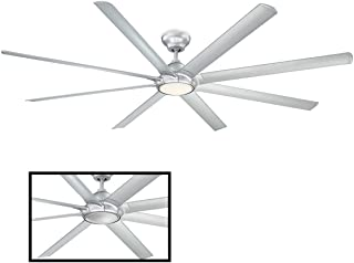 Hydra Indoor/Outdoor 8-Blade Smart Ceiling Fan 96in Titanium Silver with 3500K LED Light Kit and Wall Control works with i...