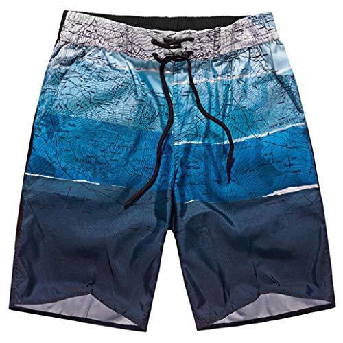 Pantalones Cortos Hombre Verano 2020 Nuevo SHOBDW Tallas Grandes Pantalones de Playa Elástico Cordón Pantalones Hombre Deporte Bolsillos Transpirable Bañador Hombre Corto