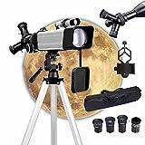 QUNSE Telescopio Astronómico - 29x-167x, F50060M, Incluye Adaptador Móvil, Funda, Trípode Regalo para Principiantes y Niños (B)