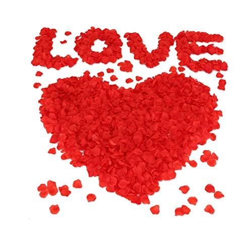 Vockvic 1000pcs Petali di Rosa, Seta Artificiali Petali di Rosa Finti Rossi, Decorazione Romantica per Matrimonio, Festa della Mamma, Proposta Matrimonio, Natale
