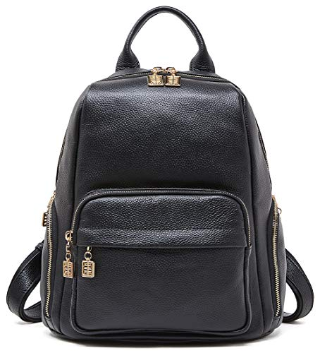 BOYATU Genuine Leather Backpack Purse for Women Casual Daypack Fashion Travel Bag Black