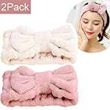 Jseng Microfiber Bowtie Women Beauty Headbands, Extrame Soft & Ultra Absorbent, Comfort to Wash Makeup Shower Facial Skincare Spa Thick Hair Band for Girls (Beige+Pink)