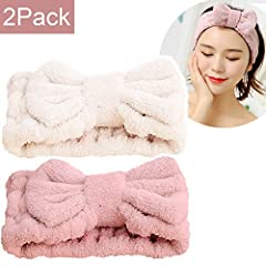 * Package - 1pc Pink Spa Hairband + 1pc beige Cosmetics Hairband. * FITS ALL HEAD SIZES - Keeps your hair neat and away from the face. It can stretch and adjust to its original size easily. * CUTE DESIGN HEADBAND - Adorable Bow Tie shape on the top o...