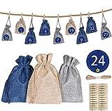 Jiahuade 24 Stoffbeutel für Geschenk-Verpackung, adventskalender stoffsäckchen, Weihnachtskalender...