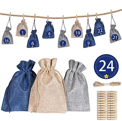 Jiahuade 24 Stoffbeutel für Geschenk-Verpackung, adventskalender stoffsäckchen, Weihnachtskalender Bastelset, Jutesäckchen zum Befüllen, Weihnachten Geschenksäckchen,
