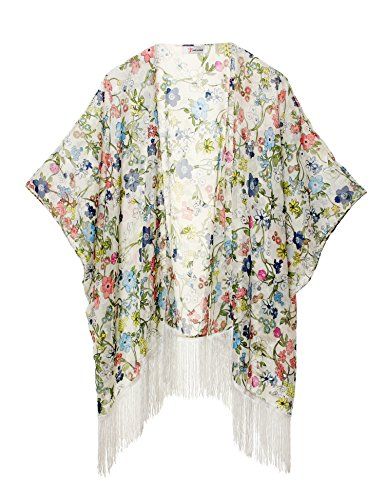 Mujeres Impresión Floral Gasa Kimono - Talla Extra Ligero Elegante Playa Vestido bikini encubrimiento