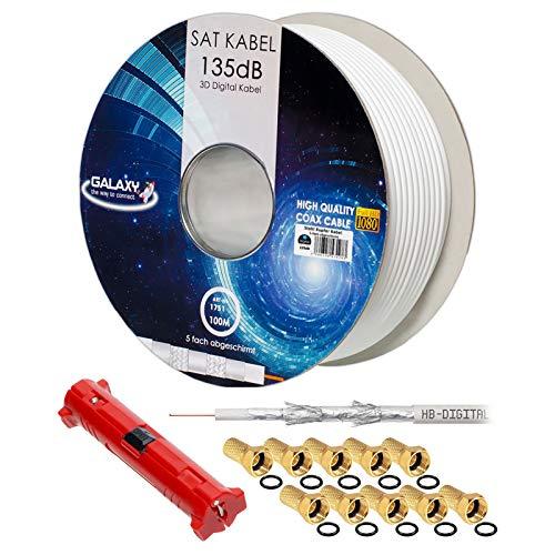 HB-DIGITAL 100m 135dB Koaxial SAT Kabel 5-Fach geschirmt weiß inkl. Abisolierer und 10 vergoldete F-Stecker Antennenkabel für DVB-S / S2 / S2X DVB-C und DVB-T / T2 BK Anlagen UHD 4K Full HD 3D