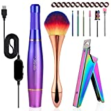 Nail Drill for Acrylic Nails, Belle Portable Electric Nail File Drill Kit, Electric Nail Drill for Acrylic, Manicure Pedicure Polishing with Nail Clipper, Brush, 6 Drill Bits, Sanding Bands, Violet