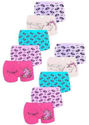 LOREZA ® 10er Pack Mädchen Pantys Boxershorts Unterwäsche aus Baumwolle (152-158, Modell 7)