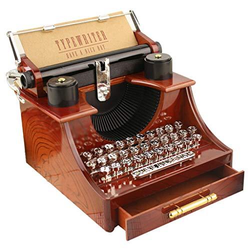 Mlide Vintage Music Box, Mechanical Music Box Gift for Christmas, Sewing Machine/Piano/Phonograph/Violin/Typewriter Music Box (Yypewriter-Brown)
