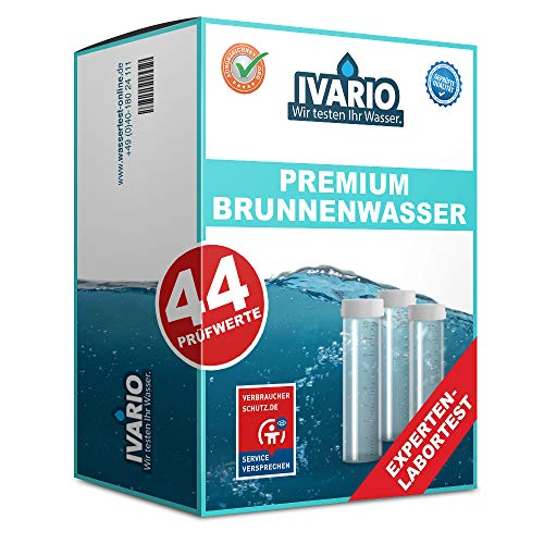 IVARIO Brunnenwasser Premium (44 Prüfwerte), Labor-Wassertest mit Experten-Analyse im akkreditierten Fachlabor/24h-Versand/kostenlose Beratung