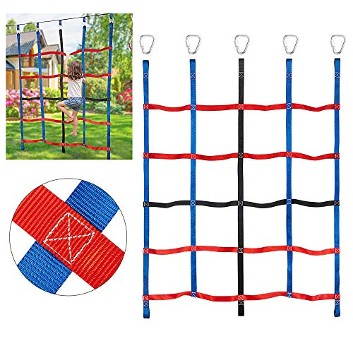 MONT PLEASANT Climbing Cargo Net for Kids Ninja Net Climbing Swingset Polyester Rope Ladder for Jungle Gyms Playground Ribbon Net Obstacle Course Training Climbing Net for Outdoor Treehouse