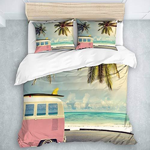 446 Juego de funda de edredón de tamaño doble, juego de 3 juegos de cama de coche vintage en la playa con una tabla de surf en el techo, juego de edredón fresco para decoración de dormitorio