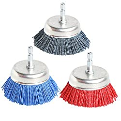 in budget affordable 3 different 3 inch cup brush polishing wire nylon drill brush, particle size 80 120 320 seconds…