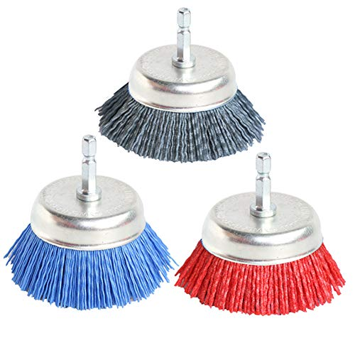"""3Pcs 3 Inch Assorted Cup Brushes Abrasive Wire Nylon Cup Brush for Drill,Grit 80 120 320 with 1/4"""" Shank"""