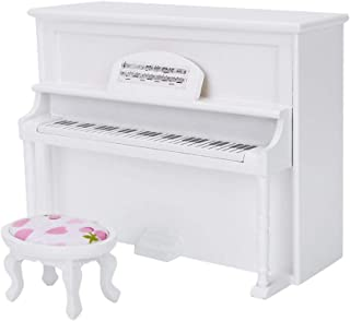 Miniature Dollhouse Mini Upright Piano and Bench Model Toy Music Room Simulation Furniture Accessories Birthday Gifts for Kids