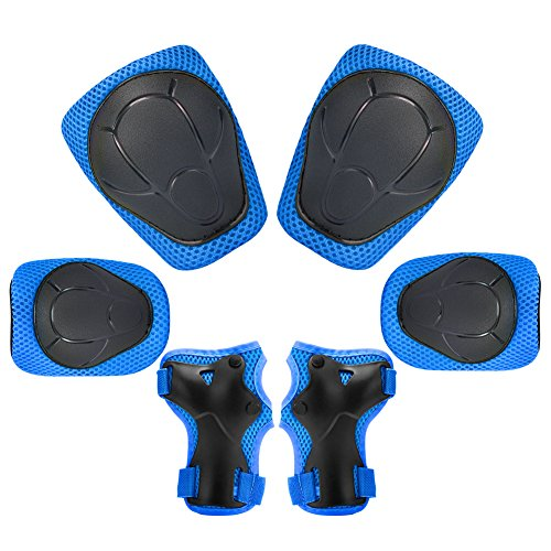 Sports Protective Gear Safety Pad Safeguard (Knee Elbow Wrist) Support Pad Set Equipment for Kids Roller Bicycle BMX Bike Skateboard Protector Guards Pads (Blue)