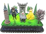 Beauty and the Beast Birthday Cake Topper Set Featuring Belle, The Beast and Decorative Themed Accessories