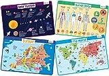 merka Set de 4 Manteles Individuales Educativos para Niños - Lavables Salvamanteles Individuales Resistentes y Reutilizables para la Mesa de Comedor de Cocina (Explorador)