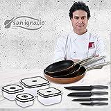 San Ignacio Professional Chef Copper Set de 3 sartenes + 4 recipientes herméticos + 4 Cuchillos de Cocina, Multicolor