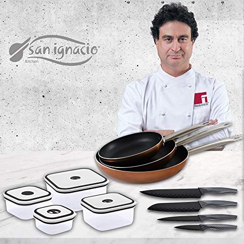 San Ignacio Professional Chef Copper Set de 3 sartenes + 4 recipientes...