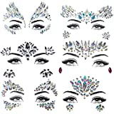 ZLXIN Face Gems Temporary Tattoo Stickers Acrylic Crystal Glitter Stickers Waterproof Face Jewels Rainbow Tears Rhinestone Eye Decoration for Party, Rave Festival, Dress-up (6 Pcs A Set) (Style 6)
