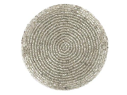 CREATIVE TOPS Set von 10,2cm Creative Weihnachten Silk-Backed Silber Perlen Untersetzer, 4Stück