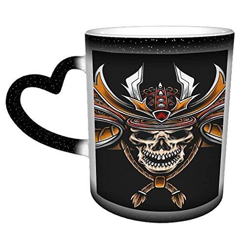 Schädel mit Samurai Helm Logo L Lustiges Geschenk/Geschenk - Tee/Kaffee Keramik...