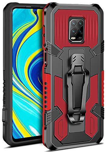 MOONCASE Xiaomi Redmi Note 9S, Funda Redmi 9 Pro, Funda Redmi 9 Pro MAX, Funda Protectora Armor Que Absorbe los Golpes, Resistente, Soporte Incorporado, Funda con Clip para cinturón - Rojo