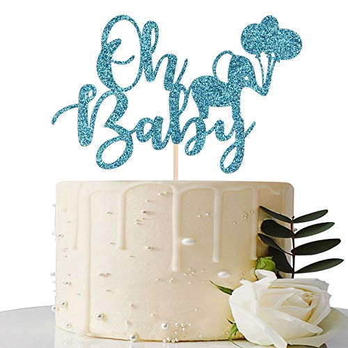 Blue Glitter Oh Baby Cake Topper - for Baby Shower / Gender Reveal / 1st Birthday Party Decorations