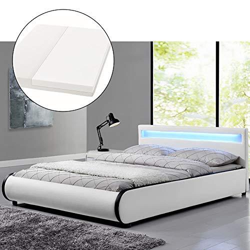 ArtLife Polsterbett Sevilla 140 x 200 cm - Französisches Bett mit Matratze, Lattenrost & LED – Holz & Kunstleder - weiß – Jugendbett Gästebett