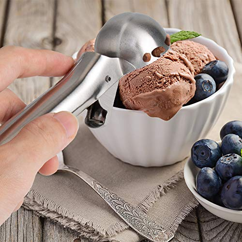 YasTant Premium Ice Cream Scoop – Stainless Steel Ice Cream Scooper with Easy Trigger, Cookie Spoon with Comfortable and Anti-Freeze Handle, Perfect for Frozen Yogurt, Gelatos, Sundaes
