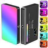 Luz de video LED VIJIM RGB mini regulable 2500-9000K, luz de relleno USB recargable con batería incorporada de 3100 mAh y orificio de tornillo de expansión de 1/4, para videocámaras