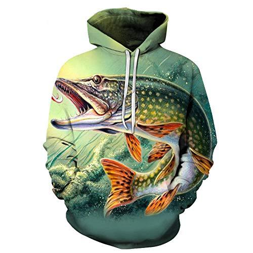 WPHRL Sweats à Capuche Sweatshirt Chemise de Couple Crocodile féroce 3D Print Pull à Capuche Pullover Sweater Casual Hoodie Manche Longue Tops Hauts 3XL